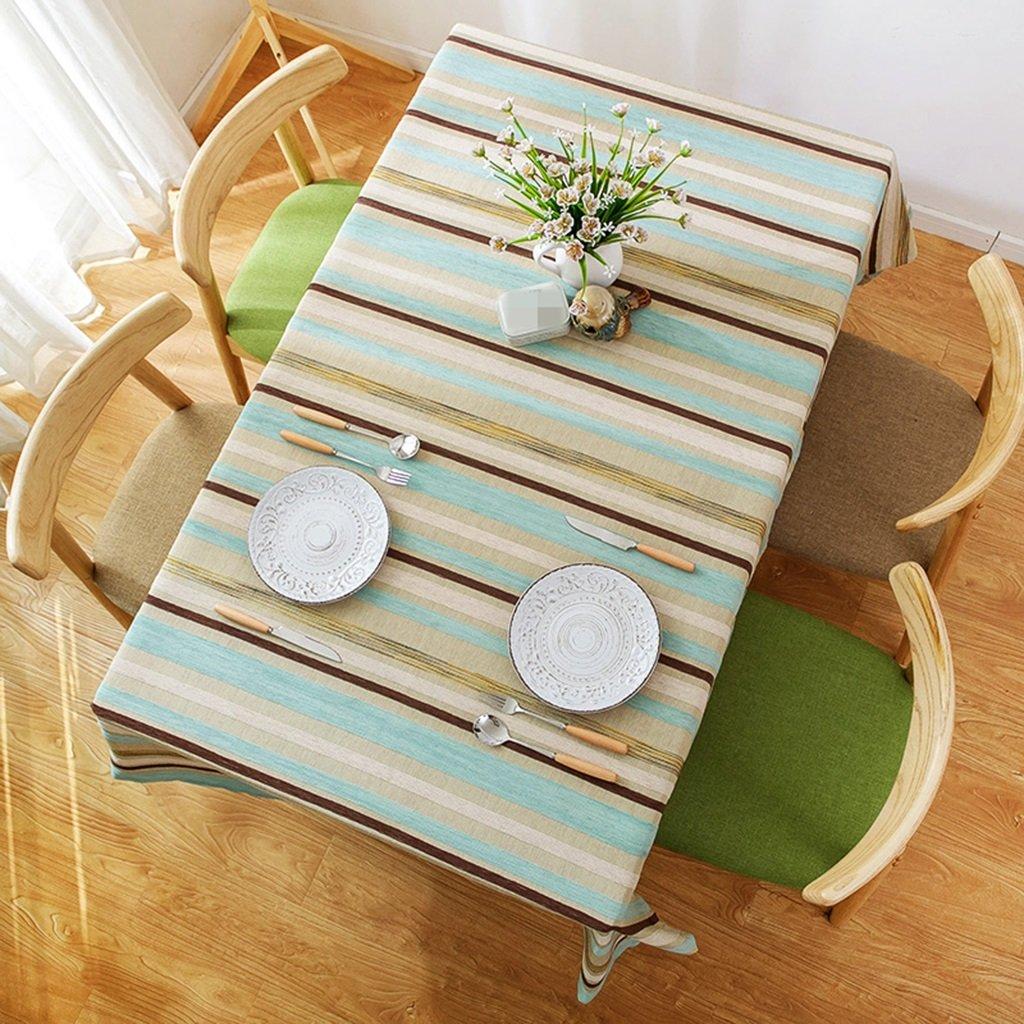 3 130200CM ZWL Modern Simple Stripe Table Tissu Littérature et Art Bleu Salon Table basse Cloth Hôtel Restaurant Nappe Rectangulaire , Ajoutez de la vitalité à la cuisine ( Couleur    1 , taille   110110CM )