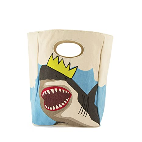 d170dfc87b34 Fluf Canvas Lunch Bag | Lunch Box for Men, Women, Kids | Organic Cotton  Meal Tote with Built-In Handle | King Shark