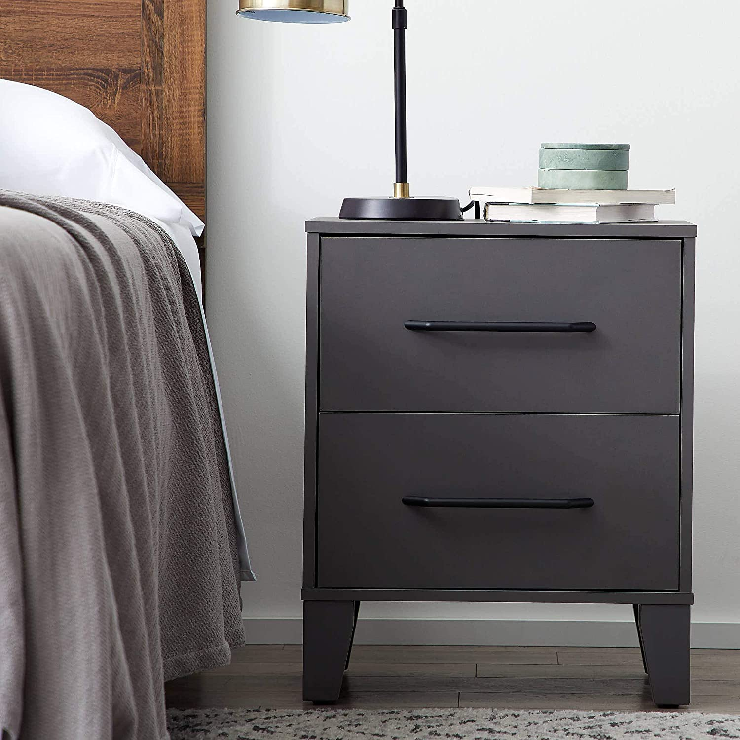 Everlane Home Daley Two Drawer End Table-Modern Design-Easy Assembly Nightstand, Grey
