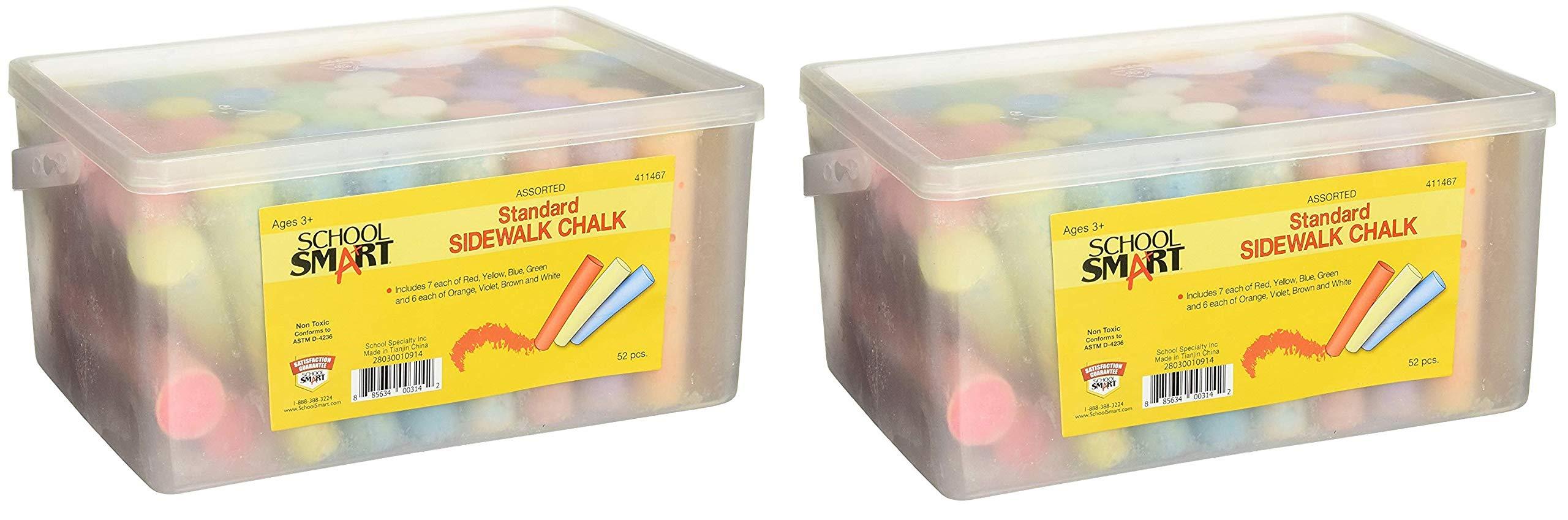 School Smart Sidewalk Chalk - 1 x 4 inches - Set of 52 - Assorted Colors (Тwo Рack)