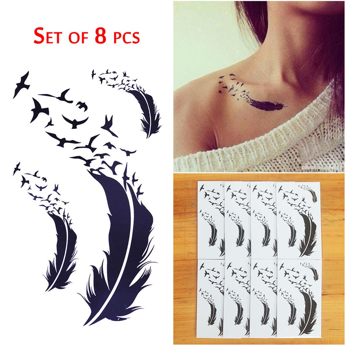 COKOHAPPY 8 Sheets Tiny Temporary Tattoo Feather Bird for Men Women