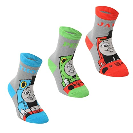 Thomas the Tank Engine Crew Socks 3 Pack Childs Blue Character Sock Infants (UK C3