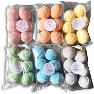 Rainbow Colors Bath Bombs Gift Set - 36 Mini Bath Bombs for Women, Men and Kids. Handmade Natural Bath Bombs with Shea Butter and Coconut Oil for a Relaxing Spa Bath. Perfect Gift Idea for Her/Him