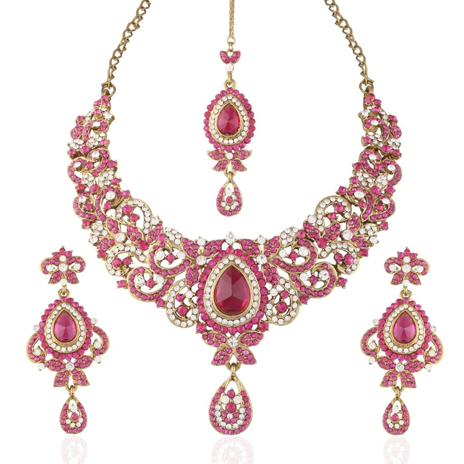 Buy I Jewels Traditional Gold Plated Stone Necklace Set with maang ...