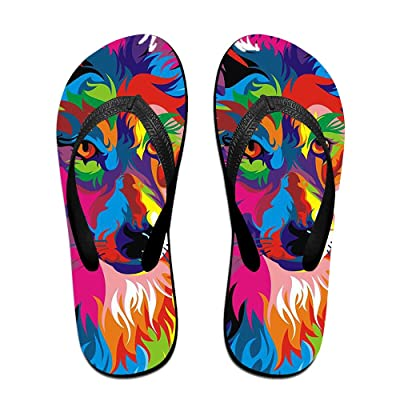 Loopkt Wolf Illustration Unisex Classical Comfortable Flip Flops Beach Sandals