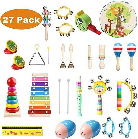 Childom Instrumentos musicales para niños, 27 piezas de madera de ...