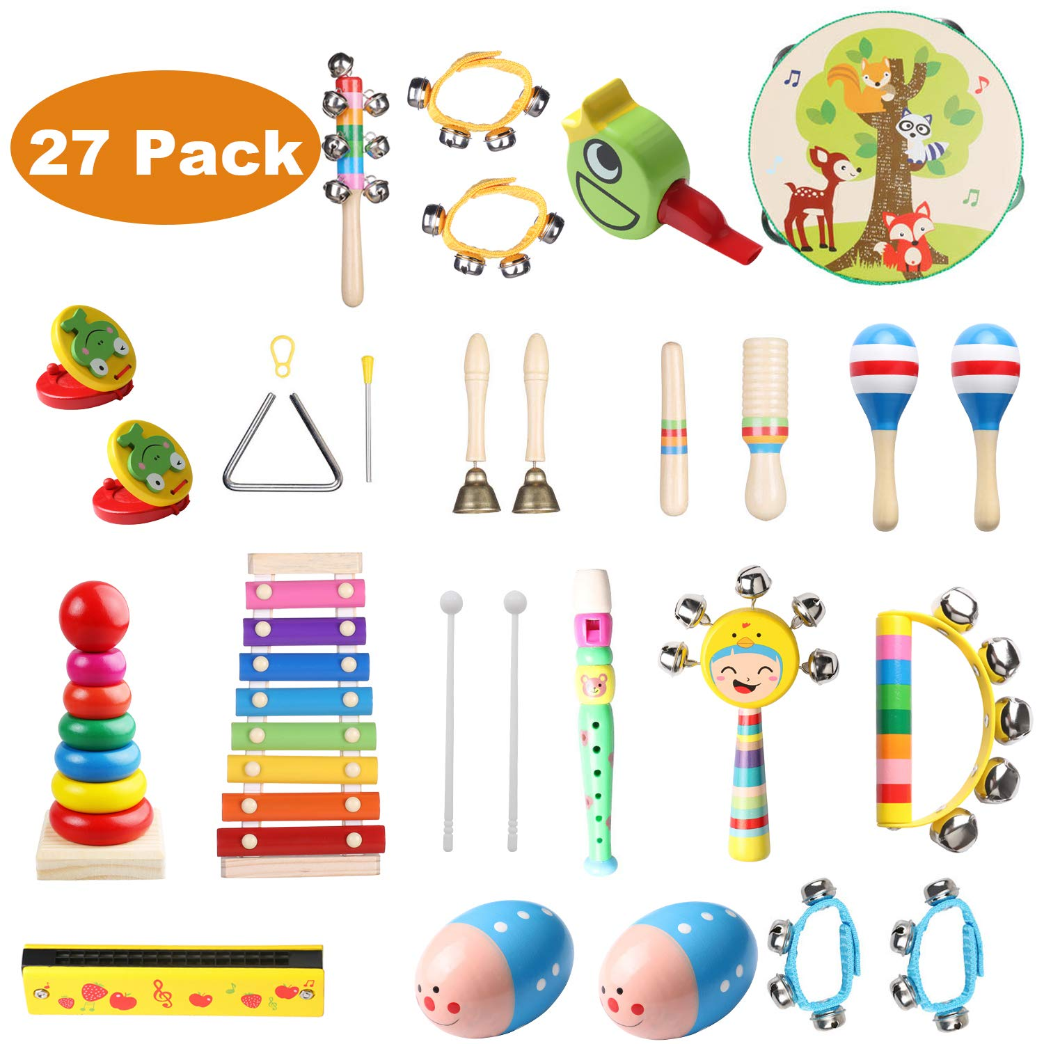 Childom Kids Musical Instruments 27PCS Wood Percussion Xylophone Toys for Boys and Girls,Child Wooden Music Shakers Percussion Instruments Tambourine Birthday Gifts Present