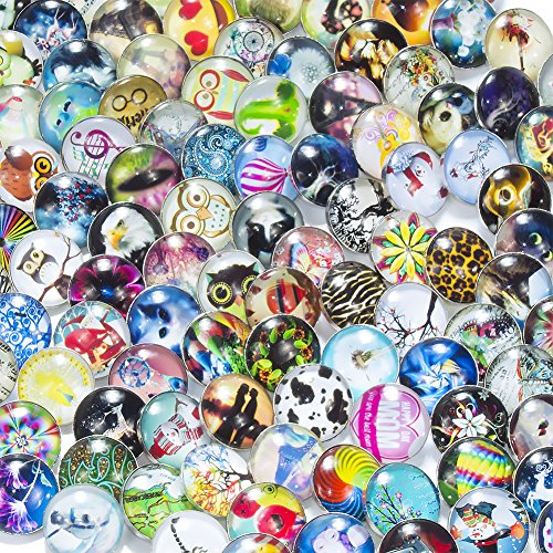 18mm 1 Charm - Soleebee BL005 100 pcs Mixed Random Aluminum Glass 18mm Snap Buttons Jewelry Charms (Multi-style)