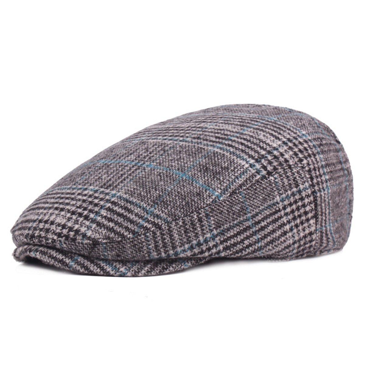 ef2b0249a ZLSLZ Mens Woolen Plaid Flat Ivy Newsboy Cabbie Gatsby Paperboy Hats Caps  for Men