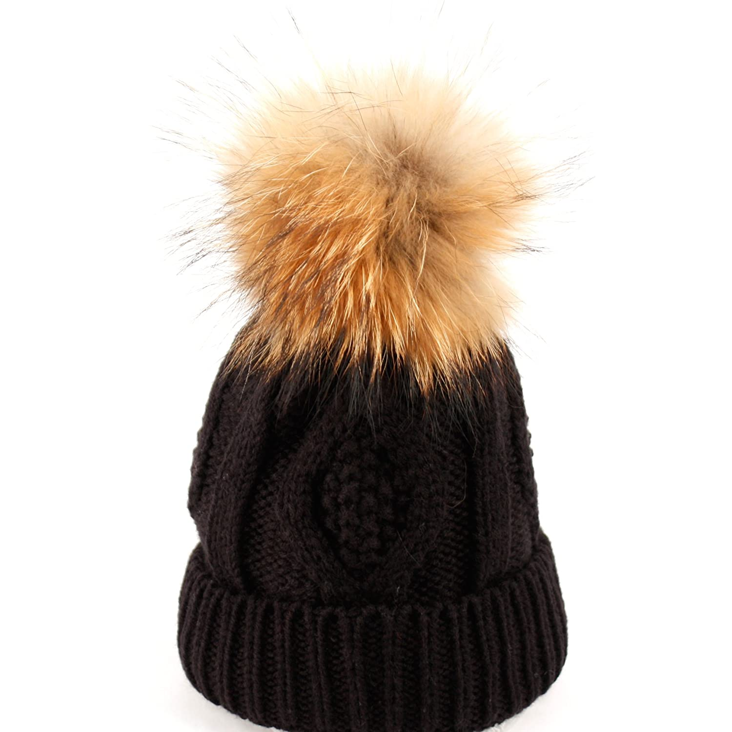 Womens Girls Knitted Fur Hat Real Large Raccoon Fur Pom Pom Beanie Hats