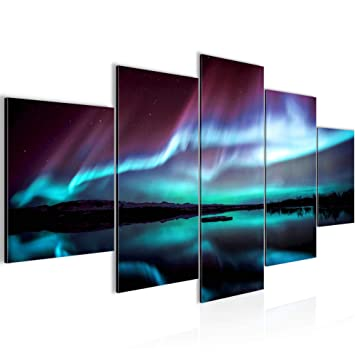 Runa Art Bilder Polarlicht Wandbild 200 x 100 cm Vlies - Leinwand ...