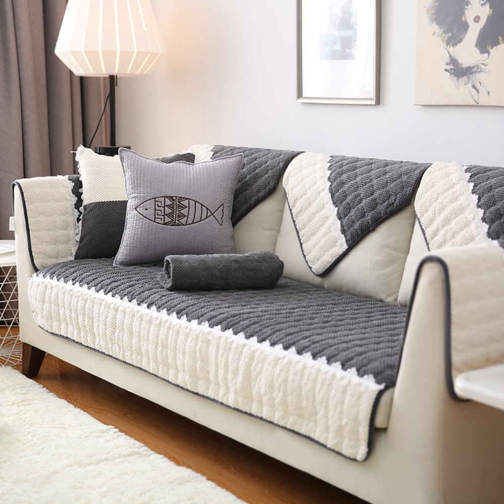 Amazon.com: Thickening Short plush Sofa slipcover,Nesting ...
