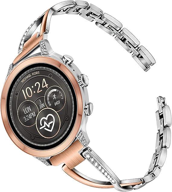TRUMiRR Watchband for Michael Kors Women's Access RunwaySofieSofie HR Touchscreen Smartwatch, 18mm Diamond & Stainless Steel Watch Band Quick