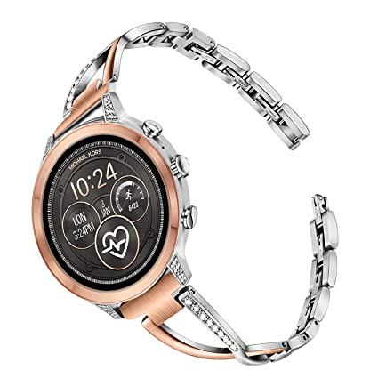 TRUMiRR Watchband for Michael Kors Womens Access Runway/Sofie/Sofie HR Touchscreen Smartwatch, 18mm Diamond & Stainless Steel Watch Band Quick ...