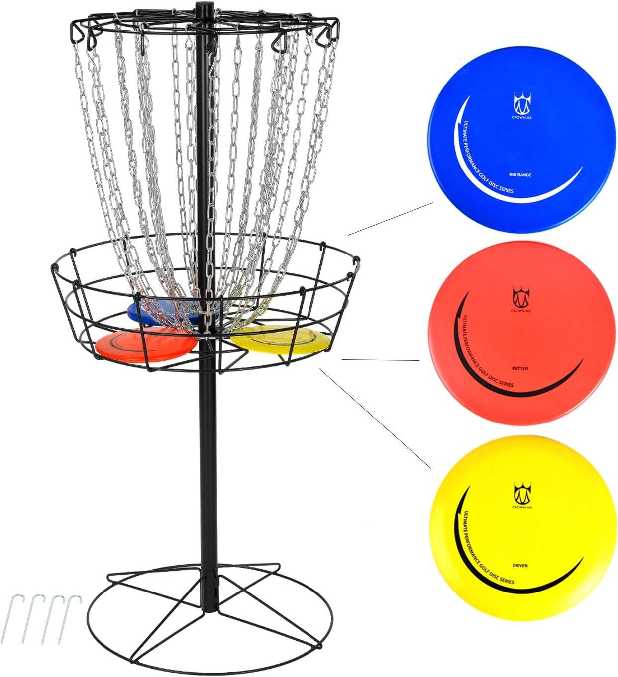 CROWN ME Disc Golf Basket Target Include 3 Discs, 24-Chain Portable Metal Golf Goals Baskets,Frisbee Golf Basket