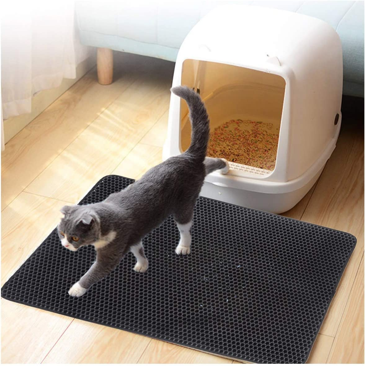 MATERIALAL Wateroof Cat Litter Mat Double Layers Cat Litter Trapper Mats Easy Clean Non Slip Collect Sands for Protect,Blue,30X30Cm