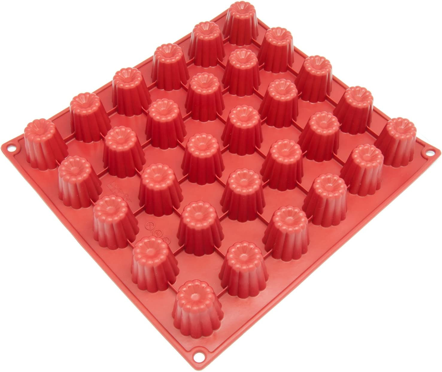 Red Freshware CB-113RD 30-Cavity Mini Silicone Mold for Caneles and Bordelais Fluted Cakes