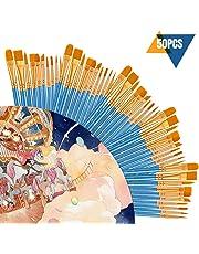 50 Piezas Juego de Pinceles CookJoy Pinceles Acuarela, Oleo, Acrílico, Pintura Corporal y más - Calidad Profesional y Pinceles Duraderos para Artistas Profesionales, Estudiantes, Aficionados, Novatos