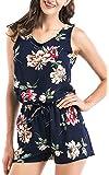 FTVOGUE Womens 2 Piece Jumpsuit Floral Playsuit Beach Romper Sleeveless Vest Drawstring Shorts Chiffon Cullote