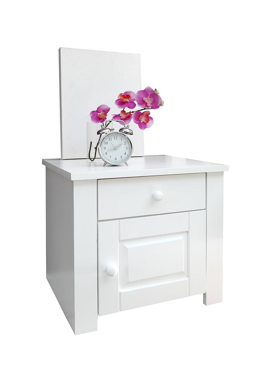 Ticaa Nachtkommode Pirin Kiefer mit Schublade Weiß