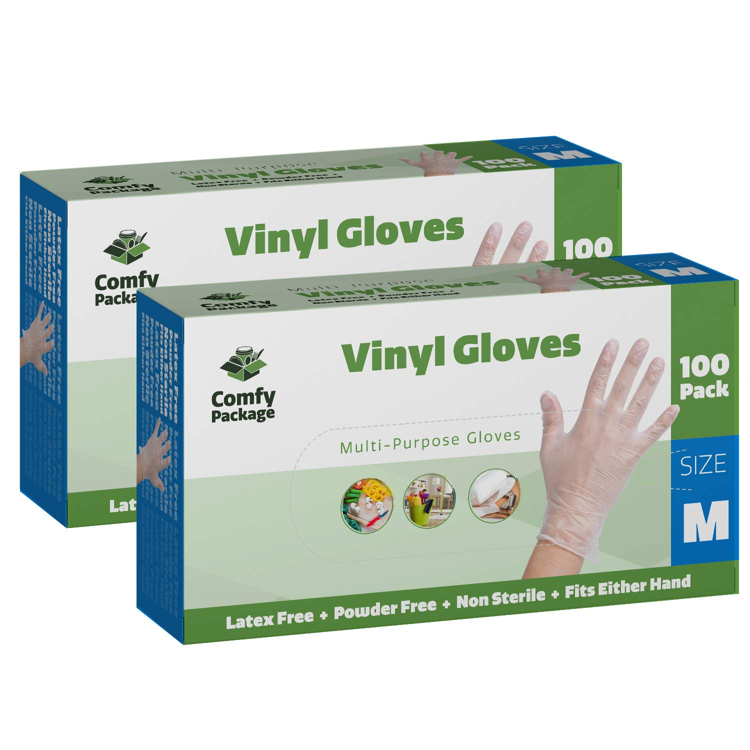 Clear Powder Free Vinyl Disposable Plastic Gloves [200 Pack] - Medium by Comfy Package
