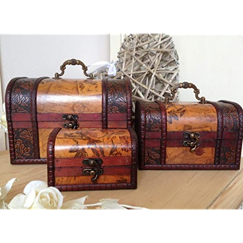 Homes on Trend Wooden Colonial Style Trunk Treasure Chest Vintage Postcard Script Storage Box