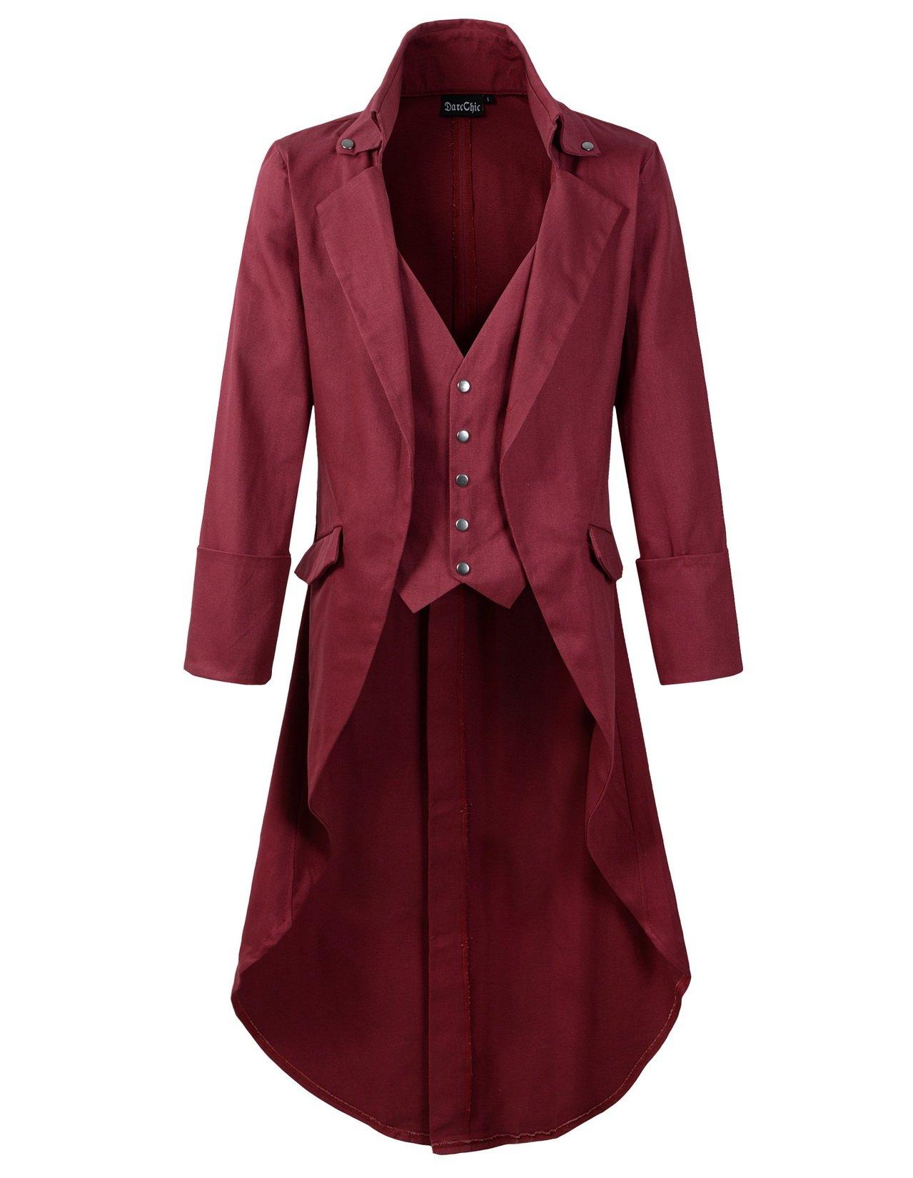 DarcChic Mens Gothic Tailcoat Jacket Black Steampunk VTG Victorian High Collar Coat (XXL, Burgundy) by DarcChic