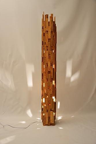 Big oak wooden design lamp, recycled oak wood, rectangular