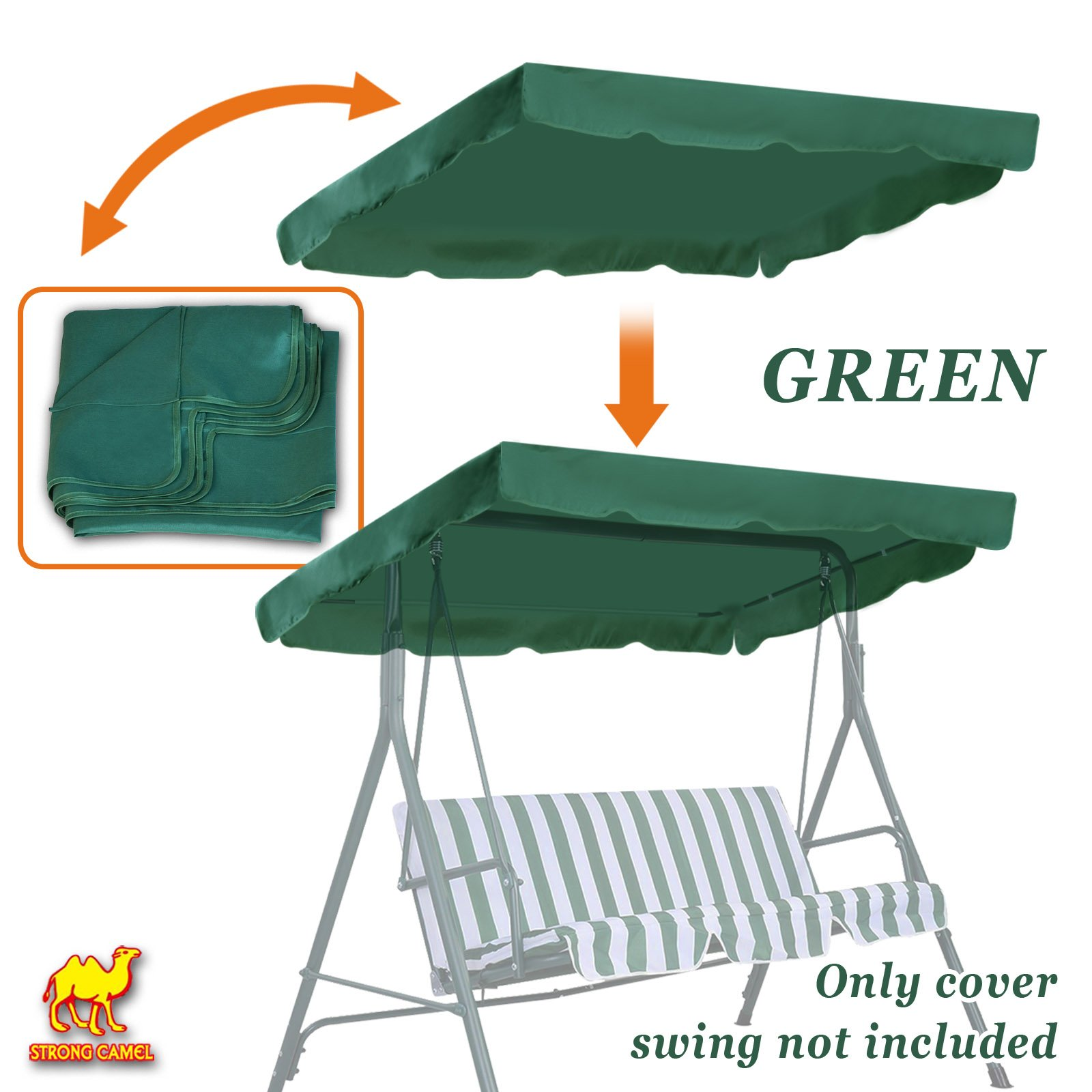 Strong Camel New Patio Outdoor 77''x43'' Swing Canopy Replacement Porch Top Cover Seat Furniture (Green)