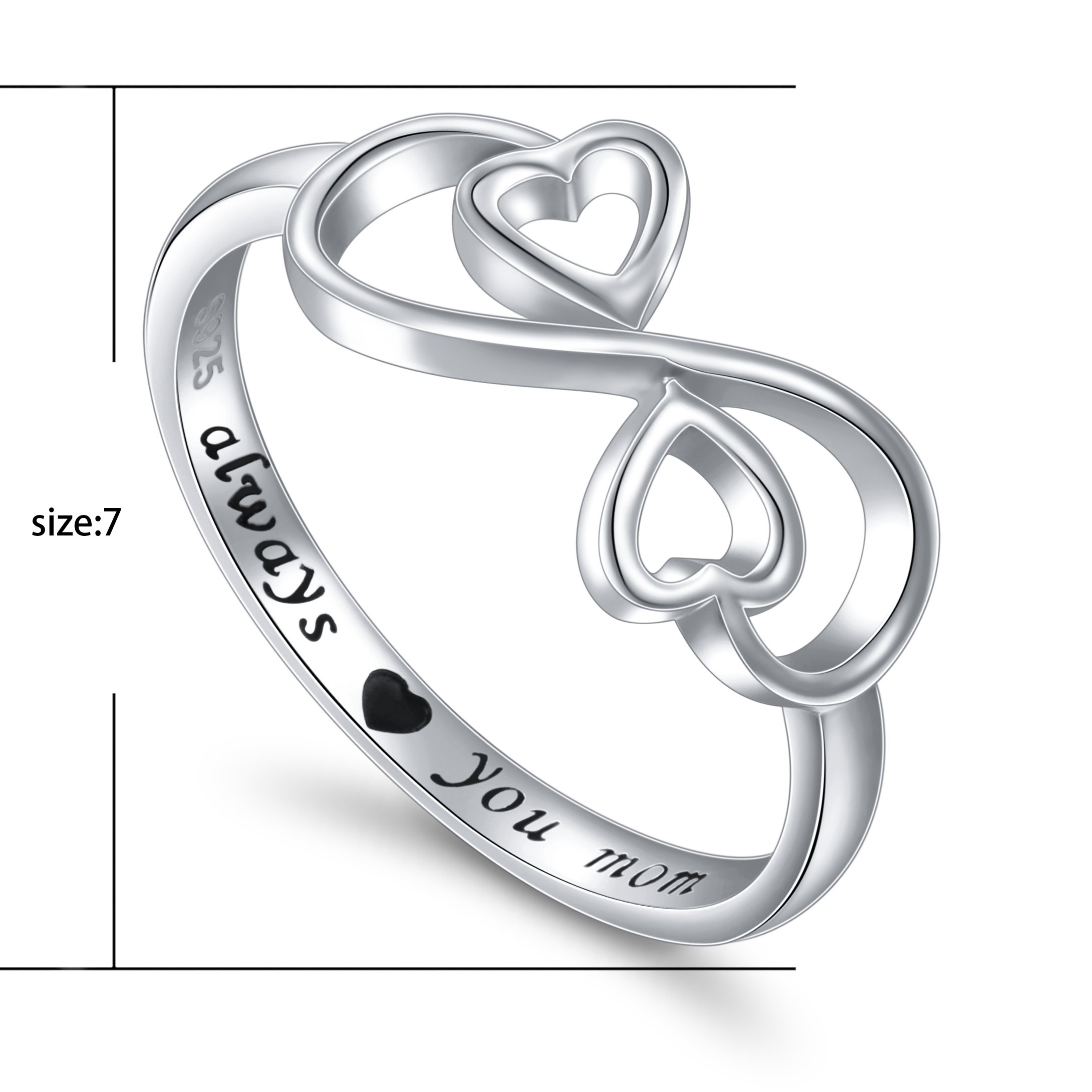 Flyow Sterling Silver Engraved Always Love You Mom Mother Daughter Forever Ring, Mother's Day Gift, Size 6-8 (7) by Flyow (Image #6)