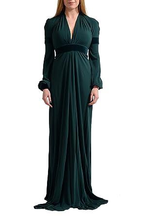 Amazon.com: Just Cavalli Women\'s Emerald Green Evening Maxi Dress US ...