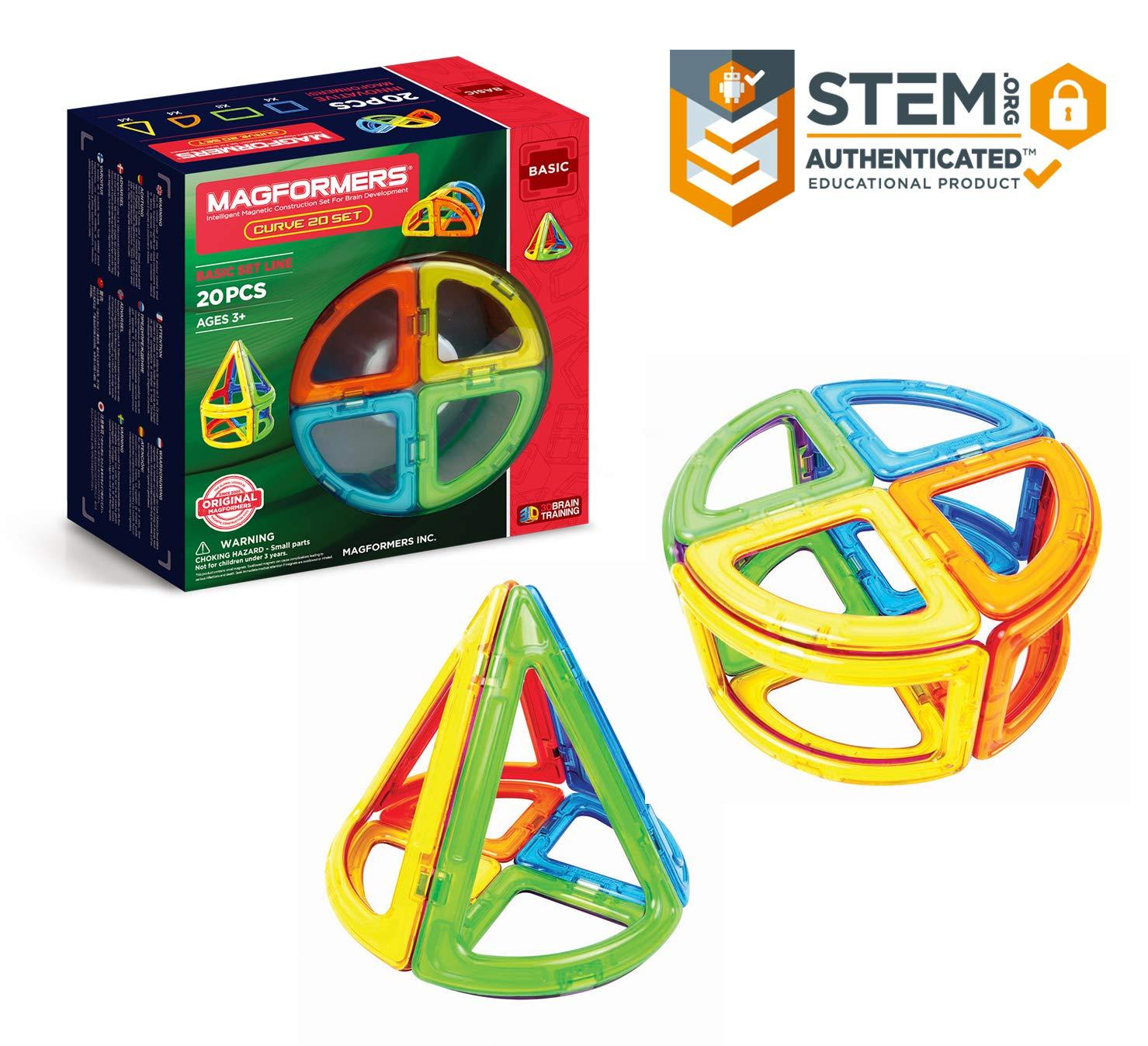 Magformers Curve (20ピース) ブロックセット レインボーカラー 磁気ブロック 教育用磁気タイルキット 磁気構造 STEMおもちゃセット   B06XJLTRQJ