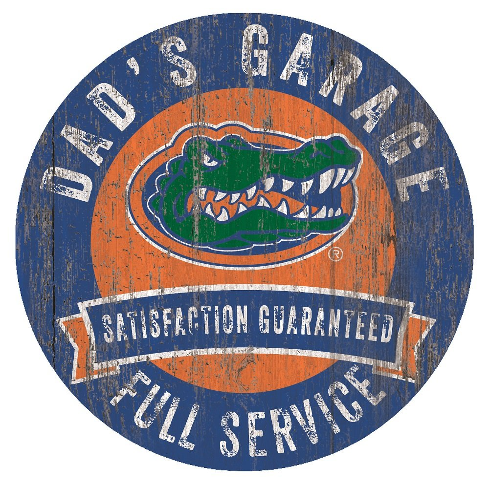 Florida Gators Dad's Garage 12'' Circle Wooden Sign