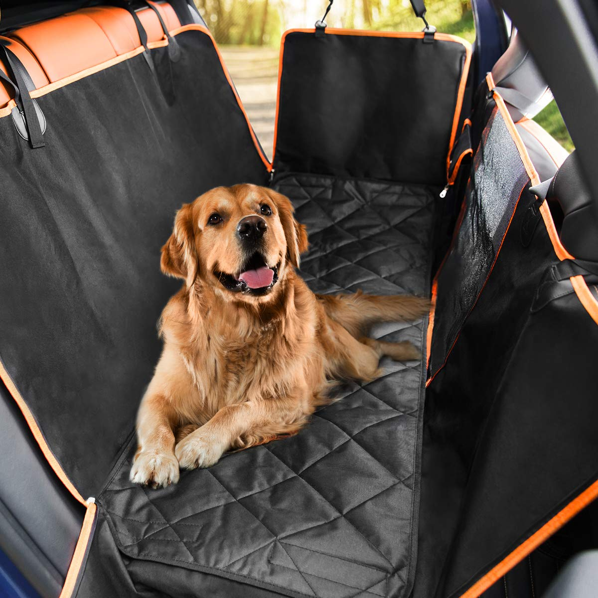Dog Car Seat Covers with Mesh Visual Window Waterproof Scratchproof Non-Slip Dog Hammock for Back Seat with 2 Storage Pockets Pet Car Seat Cover for Cars Trucks and SUVs