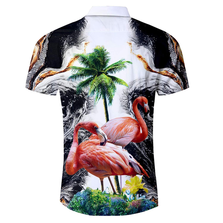 Mens Hawaiian Shirt New Casual Slim Fit Camisa Masculina Flamingos//Palm Tree Printed Short Sleeve Male Beach Shirts
