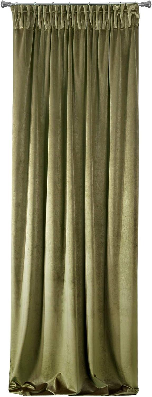 Eurofirany Rideaux occultants en Velours Vert Olive 140 x 270 cm