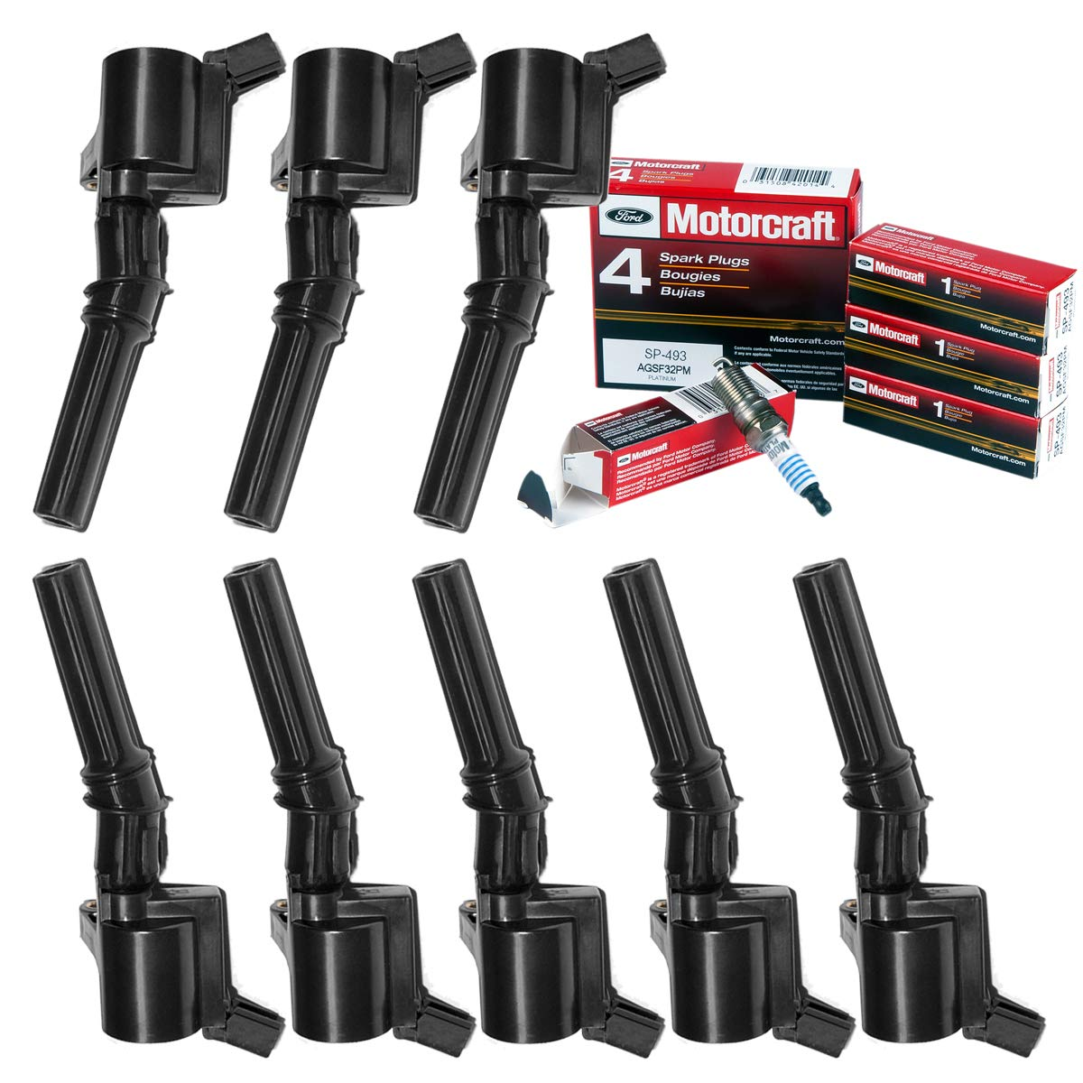 Amazon.com: MAS Ignition Coil DG508 Set of 8 & New Motorcraft Spark Plug SP493: Automotive