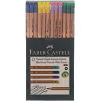 Faber-Castell 5244117912 Natural Silgili Kurşun Kalem, 12'li, Naturel Renk