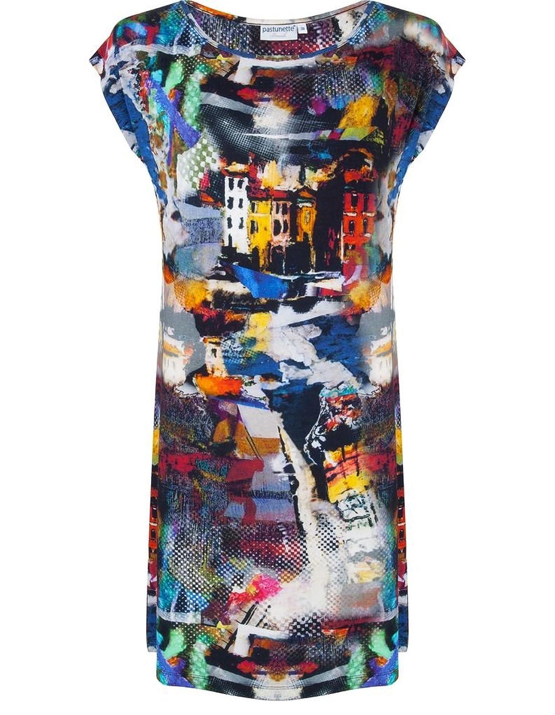 Pastunette 1071-399-2-999 Women's Black and Multicoloured Impressionist Print Viscose Kaftan