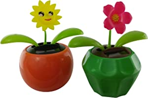 Solar Powered Dancing Flowers (Set of 2) | Red Flower and Solar Powered Sunflower in Orange and Green Flower Pots. | Solar Office, Desk, Kitchen and Patio Décor