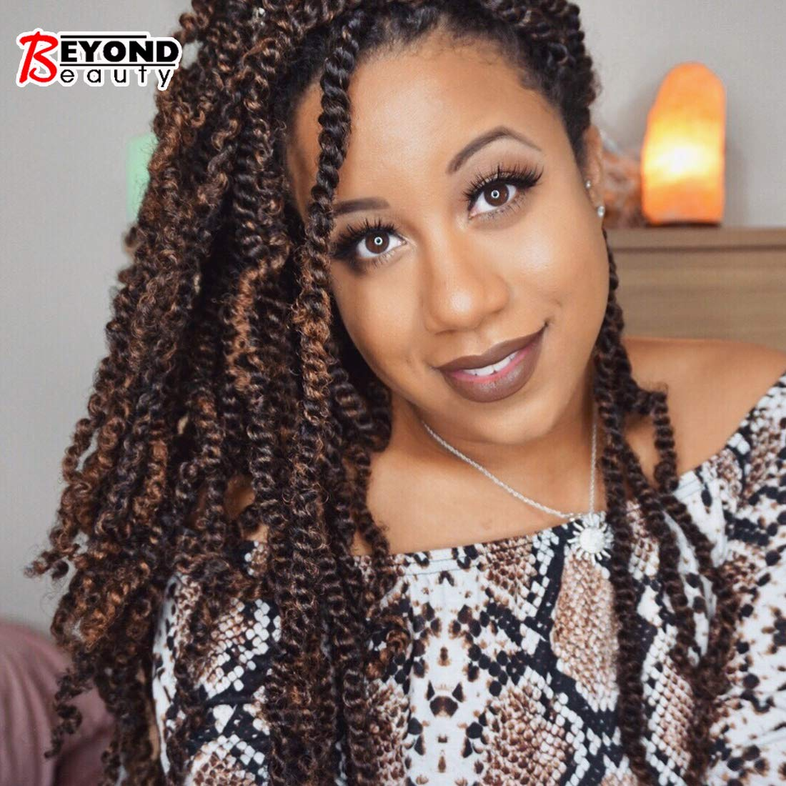 3 Pack Spring Twist Crochet Braids Bomb Twist Crochet Hair Ombre Colors Synthetic Fluffy Hair Extension 8inch 110g(T1B-30) by Beyond Beauty
