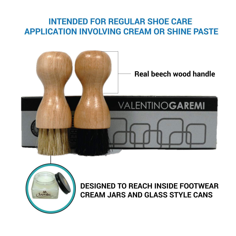 2 Dauber Leather Footwear Polish Cream Paste Valentino Garemi Shoe Shine Applicator Brush Set Genuine HorseHair for Men Woman Boots Loafer Sneaker Derby Oxford Brogues