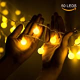 TownLights Globe String Lights Battery Operated, 50 LED 16 Feets Lights Decorative Indoor Outdoor For Bedroom, Patio, Garden, Wedding, Party, Christmas - 3 AA Battery Powered(50 LEDS, Warm White)