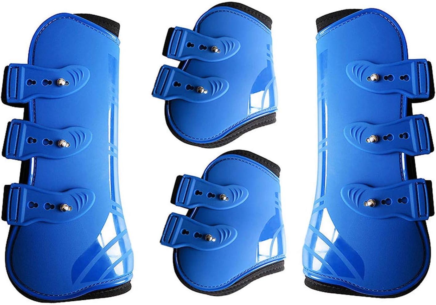 Botas de neopreno para caballo, 4 unidades, con cierre rápido de bucle ajustables, suaves y cómodos, 3 colores, azul