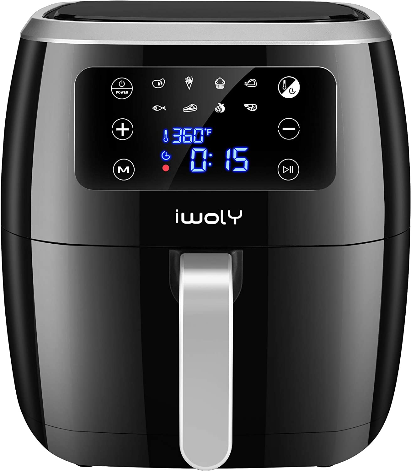 iwoly Air Fryer, 6.3QT Electric Hot Air Fryers Oven 1700W Oilless Cooker, LED Touch Digital Screen with 8 Presets, Nonstick Basket for Oil Free Roasting/Baking/Grilling