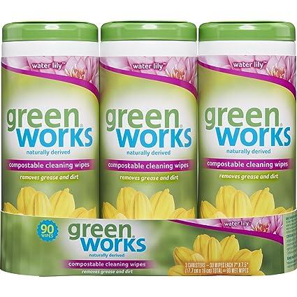 Verde funciona toallitas de limpieza de basura compostables, nenúfares, 90 Count