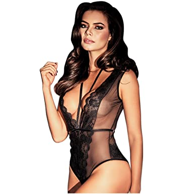Amawi BBD0901 One Piece Lingerie Bodysuit For Women Lencería Para Mujer Black M