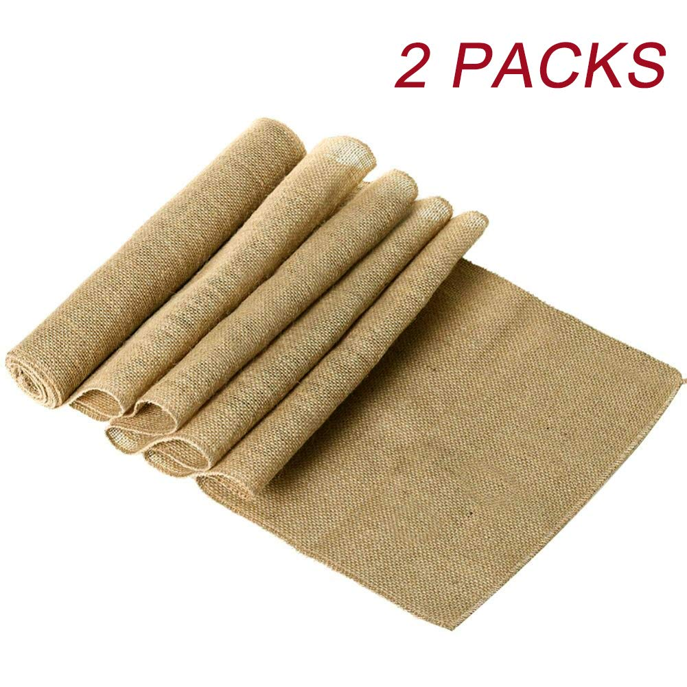 LG Home Pack of 2 12''x108'' Burlap Wedding Table Runner Jute Country Rustic Wedding Decorations Farmhouse Kitchen Decor