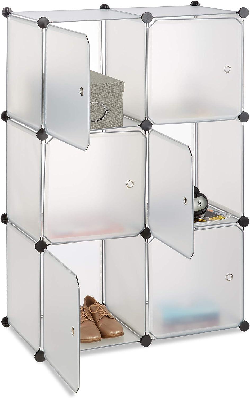Relaxdays Scaffale Componibile con Cubi Divisorio per Soggiorno con 6 Ante 97.5 x 66 x 32 cm Hxlxp