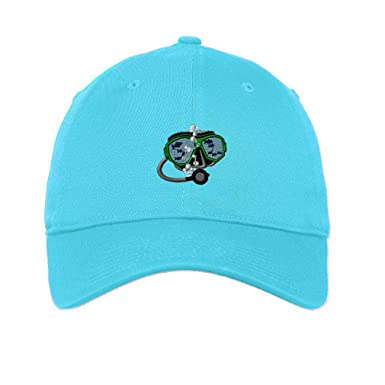 6c6f60611ed Sport Scuba Diving Mask Fish Embroidery Unisex Adult Flat Solid Buckle  Cotton 6 Panel Low Profile